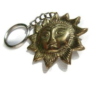 Sun Brass Plated Key Ring - Split Ring Keychain